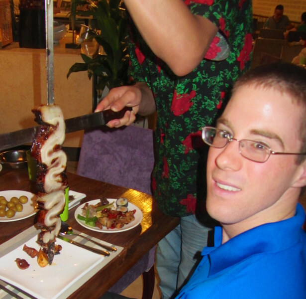 Image Colin of SilverFire enjoying his favorite Hunan specialty!
